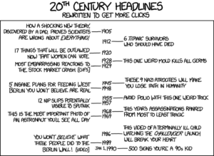 XKCD's comic, Headlines