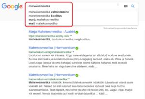 Mahekosmeetika Google otsing