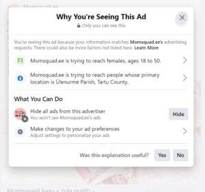 Miks ma näen seda Facebooki reklaami 2
