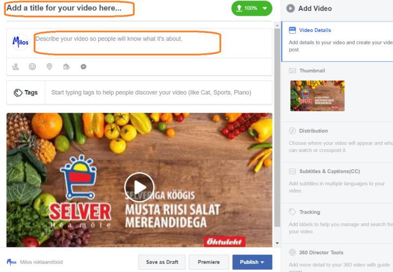 Facebooki video kirjeldus. Videoturundus