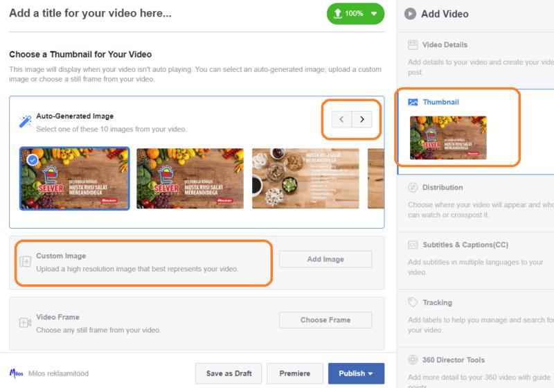 Facebooki video esimese kaadri määramine. Videoturundus