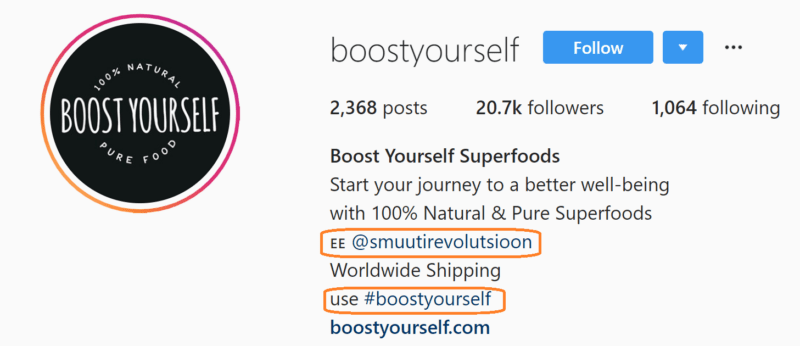 Bränditud hashtag Instagrami bios