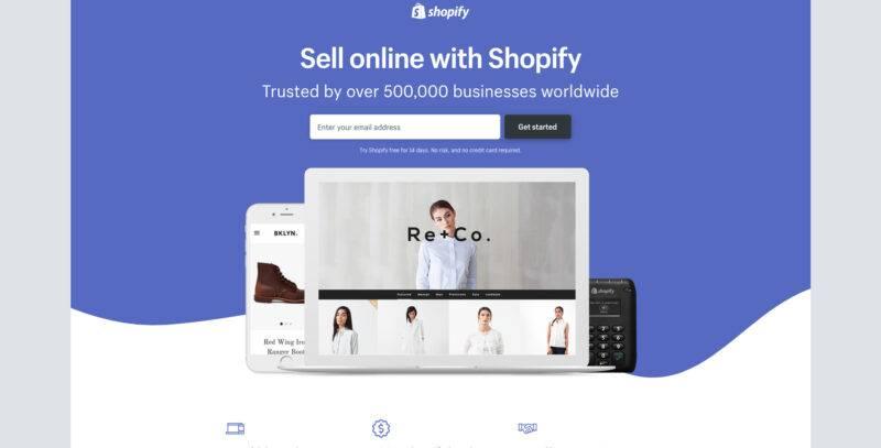 Selge, lühike üleskutse ja kontaktivorm. Shopify