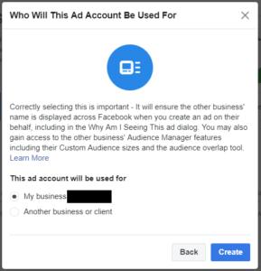 Facebooki reklaamikonto loomine 4
