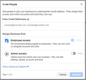 Inimeste lisamine Facebook Manageri 2