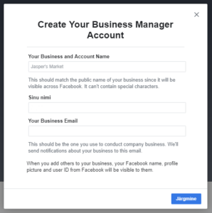 Facebook Business Manageri konto loomine