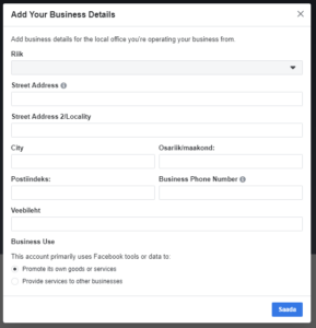 Facebook Business Manageri konto loomine 2