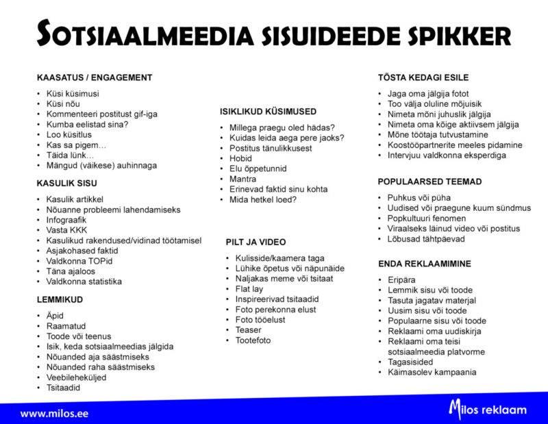 Sotsiaalmeedia sisuideed