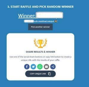 Facebooki loosimängu programm Commentpicker
